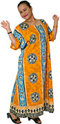 Cotton Kaftan Colour Mix:Orange-Yellow (ochre), Light-Blues, Charcoal