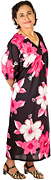 Beautifully flattering long midi-length kaftan dress in a 100% Class A Rayon fabric patterned with superior printed abstract flower designs.
